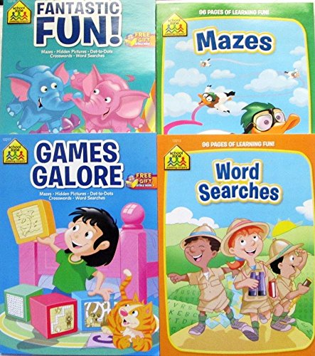 School Zone Workbooks - Mazes - Word Search - Games Galore and Fantastic Fun - Coloring And Activity Books - (Set of 4 books)