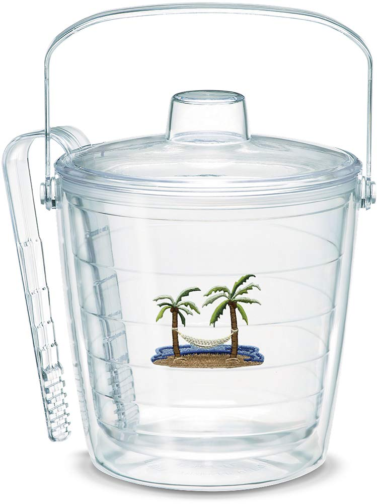 Tervis 1036484 Palm Tree & Hammock Scene Insulated Tongs with Emblem Lid-Boxed, 87oz Ice Bucket, Clear by Tervis