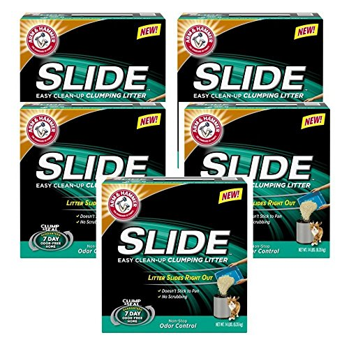 Pack of 5 SLIDE Easy Clean Up Clumping Litter, 14 lb