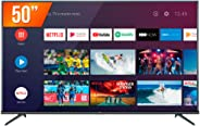 Android TV LED Ultra HD 4K HDR, TCL, 50P8, Chumbo, 50