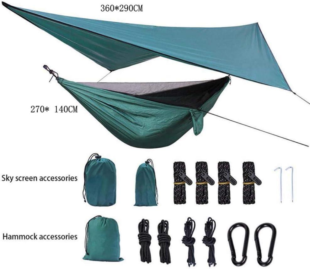 Ruixf Mosquitero Hamaca y Lonas Impermeable Camping,300kg de Capacidad de Carga, Transpirable Nylon de Paracaídas Hamacas, Verde