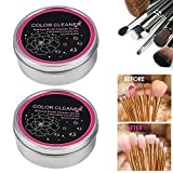 Makeup Brush Cleaner, 4Pcs Double Layer Sponge Powder Cleaner Eyeshadow Brushes Color Removal Box