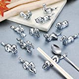 LIUNA@ 12Pcs/Set Chinese Zodiac Signs Stainless Steel Chopsticks Rest or Dinner Spoon Stand Fork and Knife Holder Animal Metal Crafts Decorations