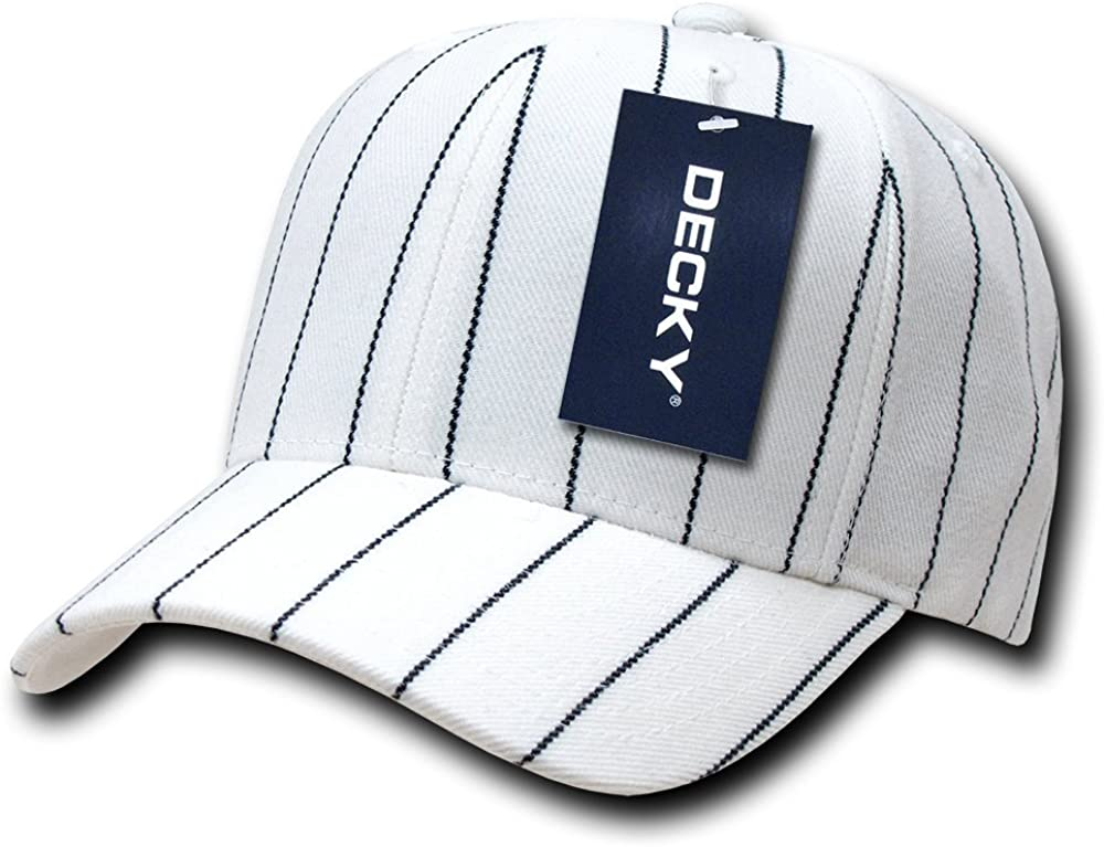 DECKY Pin Striped Adjustable Ball Cap, White: Clothing