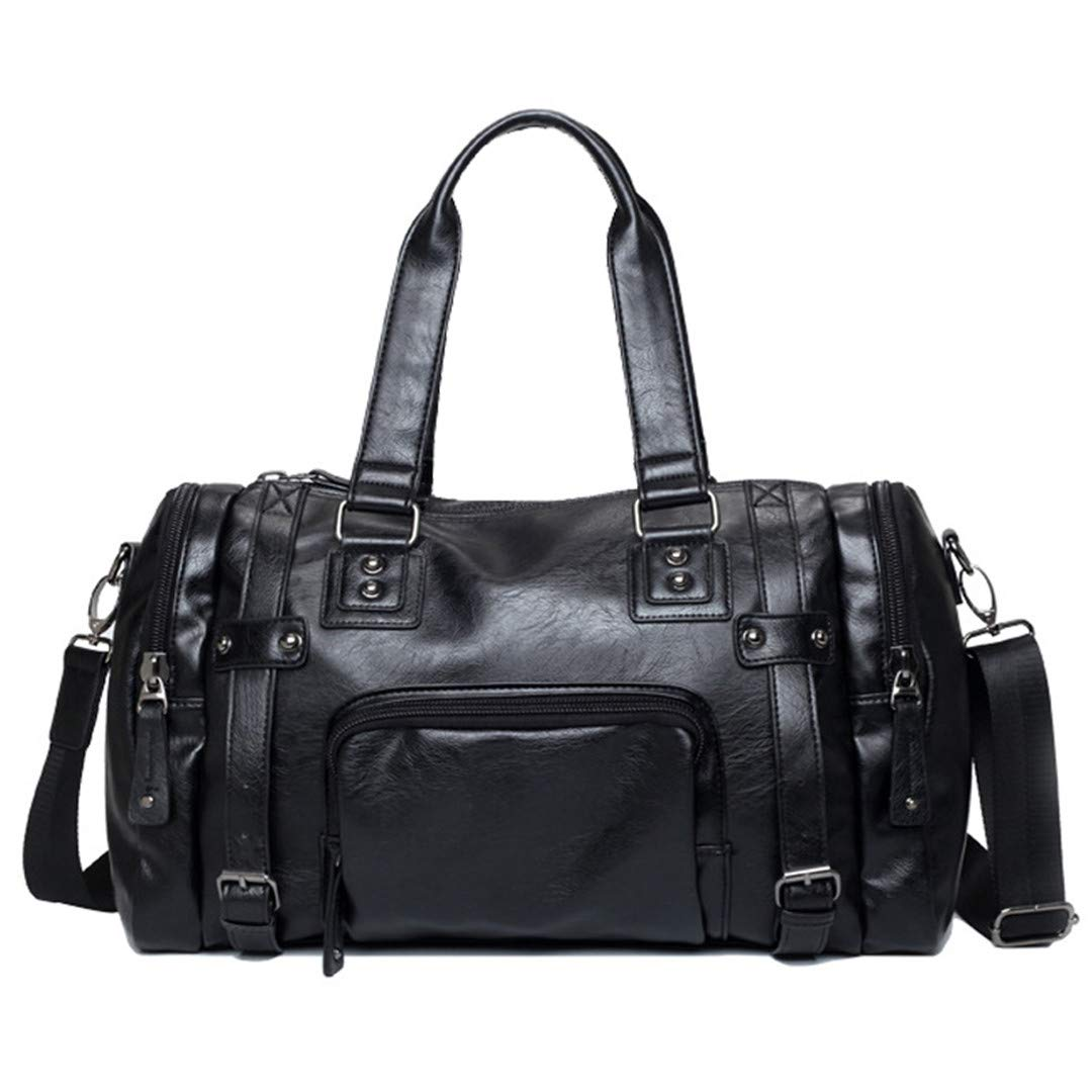 Outdoor Waterproof Travel Handbag Sports Gym Bags Cow PU Leather Messenger Bags Travel Crossbody Shoulder Bag Black