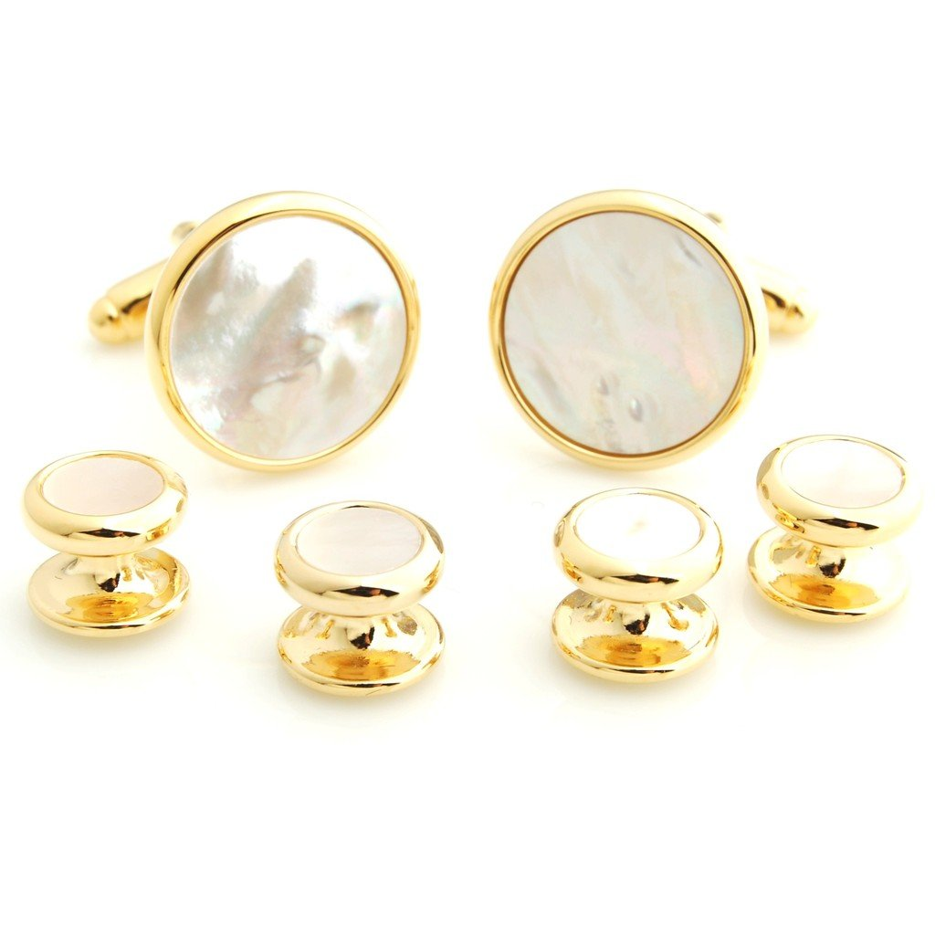 The Smart Man Classic Austere Round Stone Cufflinks and Tuxedo Studs Set for Mens Gift - White and Gold