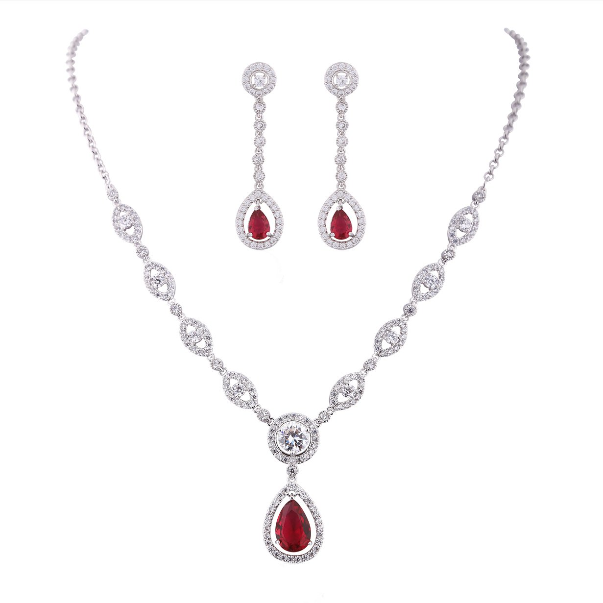 GULICX AAA Cubic Zirconia CZ Women's Party Jewelry Set Fashion Earrings Pendant Necklace Silver Plated Gelei Jewelry Co. Ltd. AT01a