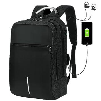 ae203d438f23f Vbiger Laptop Rucksack Damen Herren Wasserdichte für 14 Zoll Notebook mit  USB