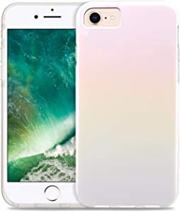 CAOUME iPhone 8/7/6s/6/SE2 Case - White Holographic Cute Gradient Shiny - Protective Stylish Cases for Apple Phone - Cover with Silicone Bumper Defender Camera and Screen