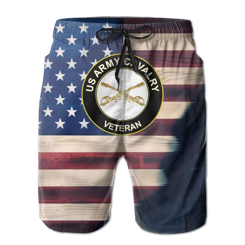 HANINPZ US Army Veteran Cavalry American Flag Mens Swim Trunks Board Shorts