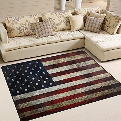 Naanle American Flag Fourth of July Independence Memorial Day Patriotic Freedom Stripe Stars Area Rug Pad Non-Skid Kitchen Floor Mat for Living Room Bedroom 5'x7' Doormats Home Decor