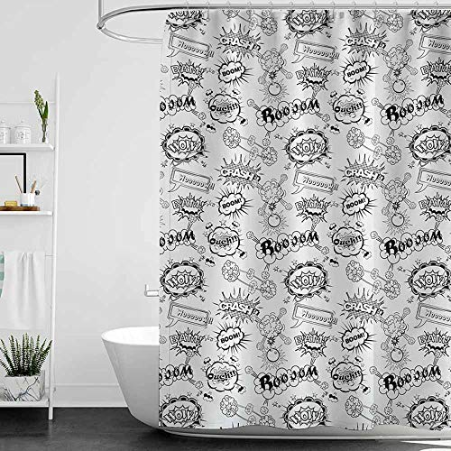 Shower Curtains for Bathroom Star Wars Sketch,Pattern with Comic Book Doodle Speech Bubbles Sound Effects Cloud Pop Art Humor,Black and White,W72 x L72,Shower Curtain for Kids