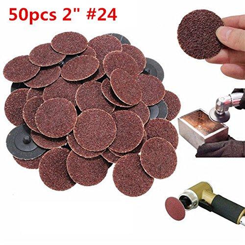 50pcs 2 Inch 24 Grit Roll Lock Sanding Discs Abrasive Tool by BephaMart