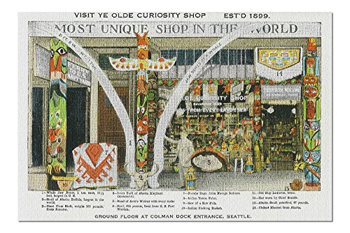 (Seattle, WA - Exterior View of Ye Olde Curio Shop, Whale Bones (20x30 Premium 1000 Piece Jigsaw Puzzle, Made in USA!))