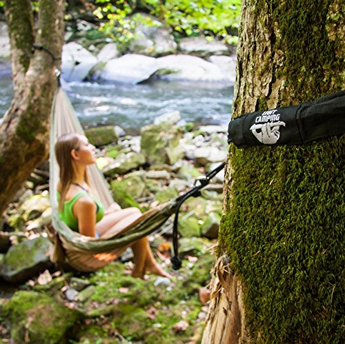 Legit Camping – Double Hammock – Lightweight Parachute Portable Hammocks for Hiking, Travel, Backpacking, Beach, Yard Gear Includes Nylon Straps & Steel Carabiners (Graphite/Seagreen)