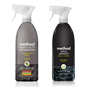 Method Kitchen Bundle   Degreaser & Granite Cleaner   28 ounces each (Lemongrass & Apple Orchard)