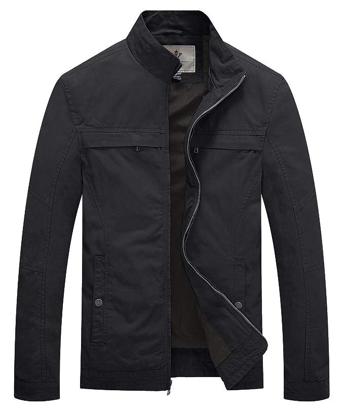 WenVen Men's Stand Collar Lightweight Military Jacket