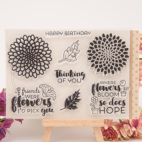 DzdzCrafts 4 by 6-Inch Decorative Flower Words DIY Clear Stamps For Card Making Scrapbooking Journal (Book Word Album Acrylic)