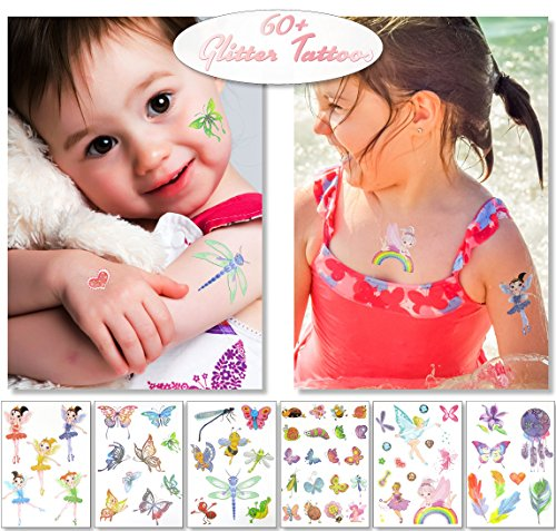 Glitter Temporary Tattoos for Kids Girls - 6 Sheets Fun Sparkle Stickers - 60+ Shining Fairy Heart Butterfly Feathers Fake Tattoo Designs - Rainbow Flash Waterproof Transfers - Great Party Favors