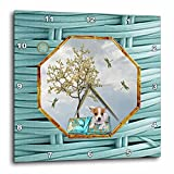 3dRose Beverly Turner Chinese New Year Design - Chihuahua, Pillow, Dragonflies, White Tree, Hexagon Design, Aqua Blue - 13x13 Wall Clock (dpp_262898_2)