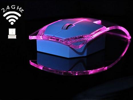 MILY transparente inalámbrico ratón óptico con USB receiver-luminous Colorful Lights, 2,4