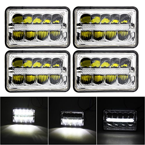 4PCS Square 4X6 Inch LED Headlights Replacement for GMC Ford Trucks MINGLI 4 x 6'' High/Low Beam With Parking Light Replace HID Xenon H4651 H4652 H4656 H4666 H6545 Headlight