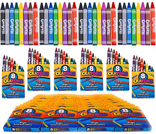 4E's Novelty 384 Crayons! 48 Packs of 8 Crayons for Kids Bulk -Non-Toxic- 8 Colors in Each Crayon Box, Premium Crayons, Great Party Favor, Arts and Crafts Supplies for Toddlers, -