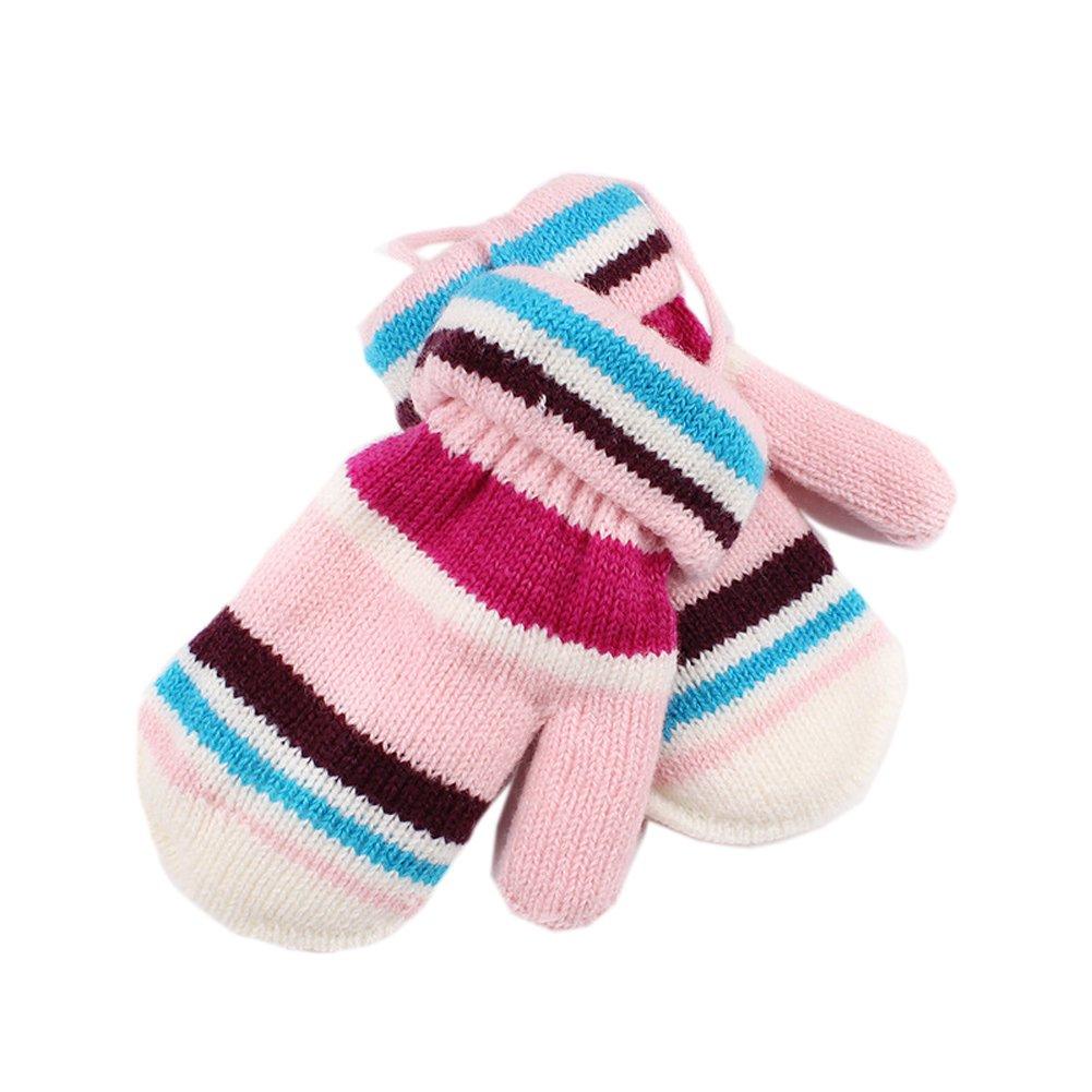 ViewHuge Stripe Boys Girls Children Kids Winter Soft Knitted Warm Whole Covered Finger Mittens Gloves
