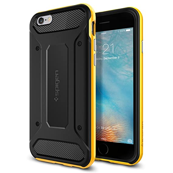 the latest 97144 ade46 Spigen Neo Hybrid Carbon iPhone 6S Case with Carbon Fiber Design and  Reinforced Hard Bumper Frame for iPhone 6S 2015 - Reventon Yellow