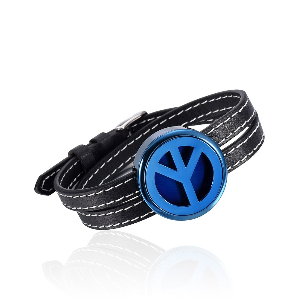 Genuine Leather Bangles 30mm Stainless Steel Aromatherapy Essential Oil Diffusing Locket Bracelet