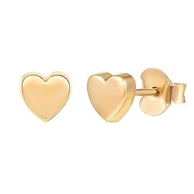 Tiny Dot//Triangle Disc Stud Earrings Gold Stud Earrings for Women PAVOI 14K Gold Plated 925 Sterling Silver Earrings