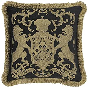 "Adorabella Heraldic Black Pillow, Crest design with woven Latin inscription translating to ""My Faith is My Glory"", 21"" square pillow, home decor scatter cushion with insert (filler) made in Australia."