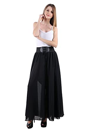 82a4061750 Raabta Fashion Women's Georgette Full Skirt with Belt (Black, Large ...