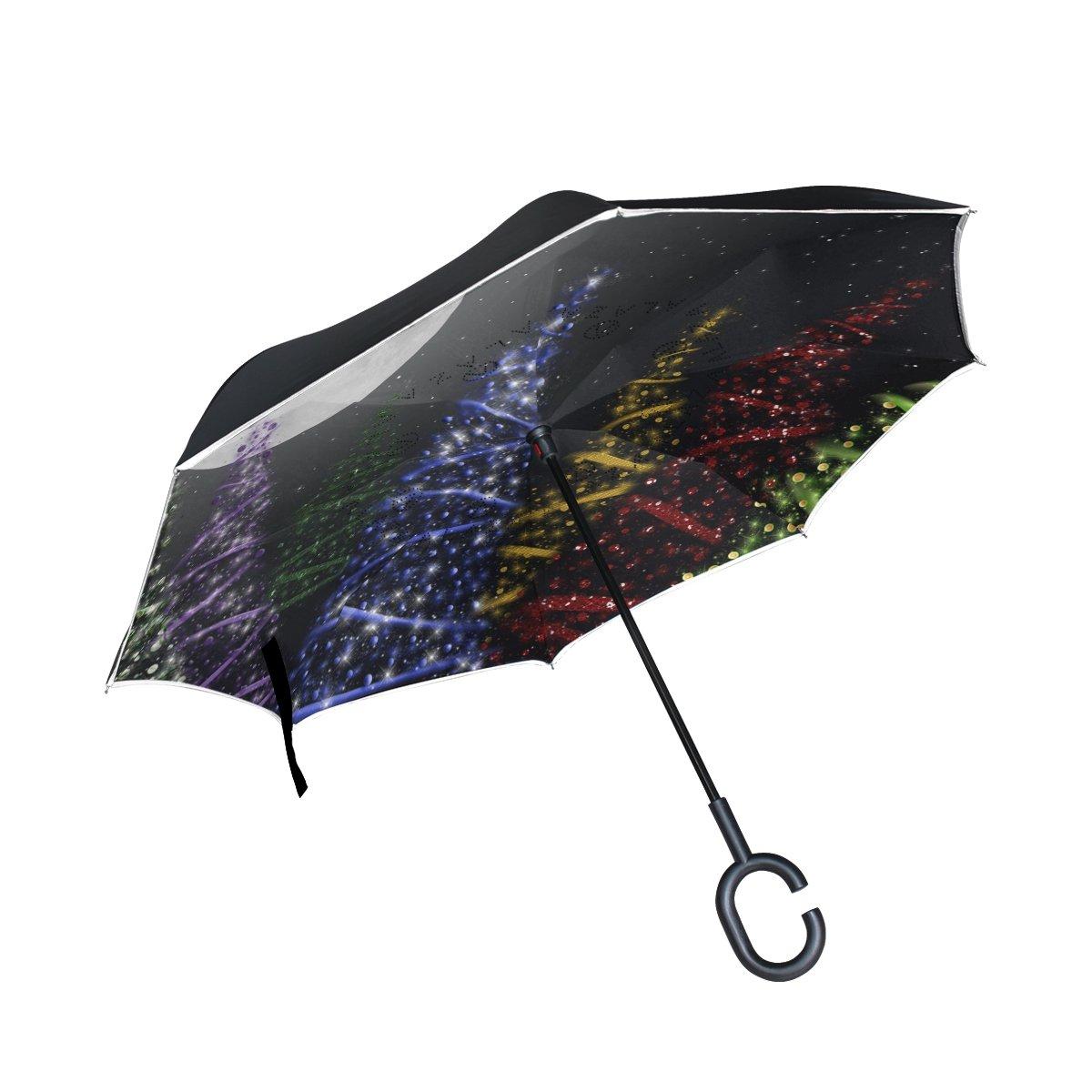 TIZORAX arbres de Noël dans le Moonight inversé double couche droites parapluies sur l'envers réversible Parapluie avec poignée en forme de C pour la pluie Soleil de voiture Utilisation