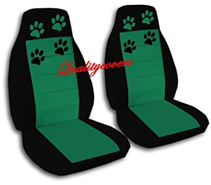 2 Black And Emerald Green Car Seat Covers With Paw Prints For A 2008 Chevy Cobalt