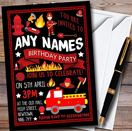 10 x Black Fire Engine Truck Fireman Fire Fighter Personalized Childrens Birthday Party Invitations (Party Birthday Invitations Firefighter)