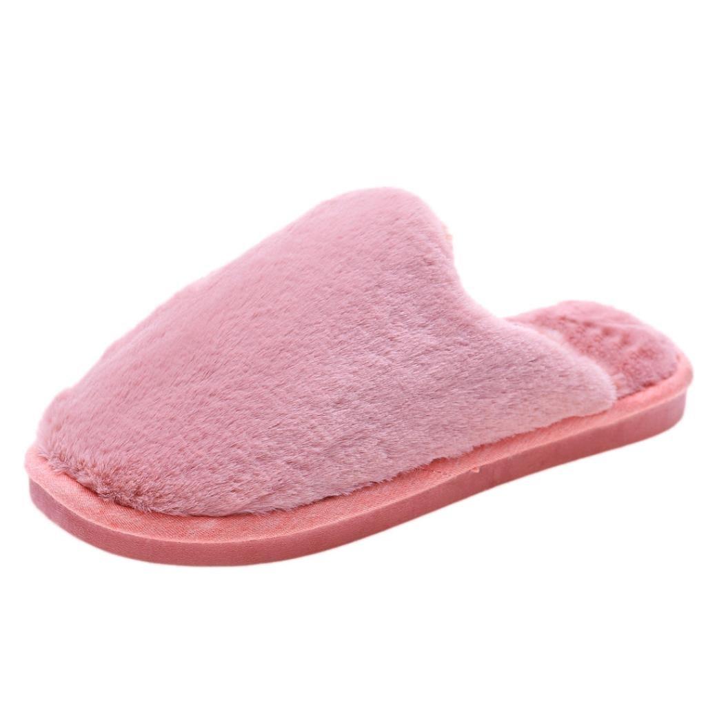 Winter Flip Flop,Sunfei Womens Flat soft Fluffy Faux Fur Flat Slipper Flip Flop Sandals Shoes (L, Watermelon Red)