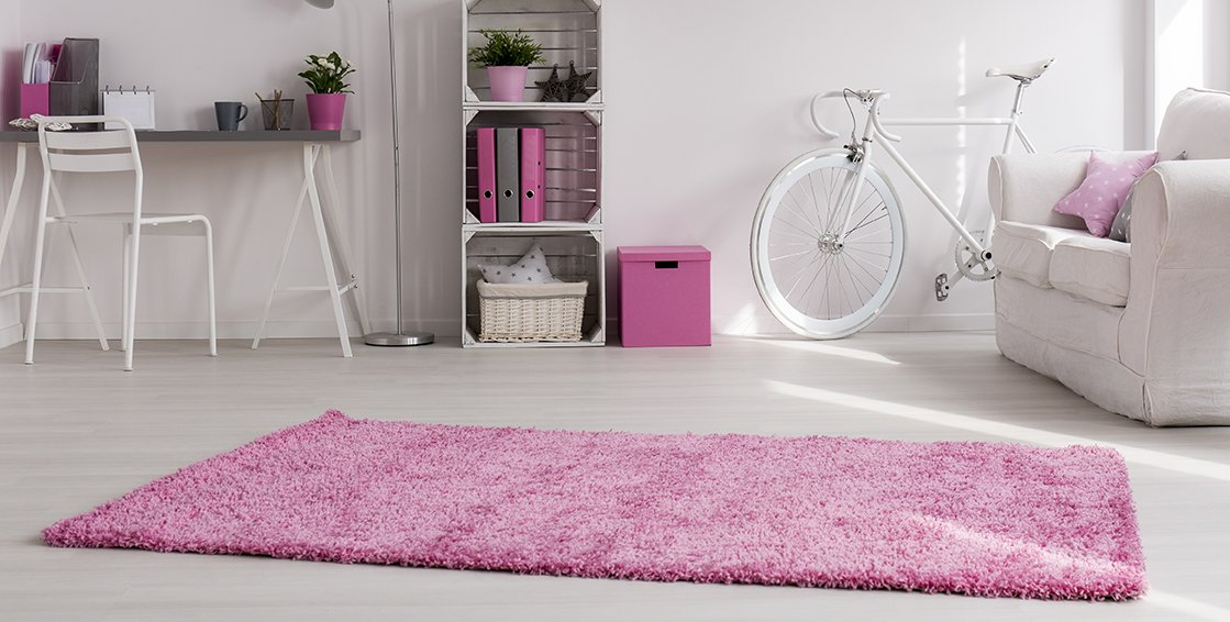 Adgo Chester Shaggy Collection Solid Vivid Color High Soft Pile Carpet Thick Plush Fluffy Furry Children Bedroom Living Dining Room Shag Floor Rug, Pink, 6' x 9'