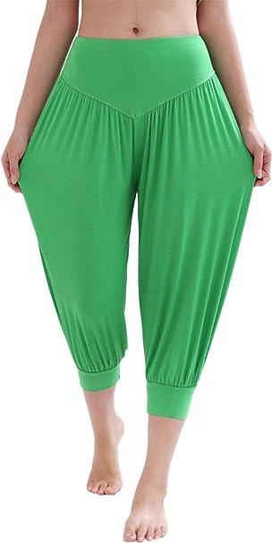 Hoerev Brand Pantalones Capri para Yoga, Pilates, supersuaves, Modal y Elastano, para Mujer - Verde - XXL