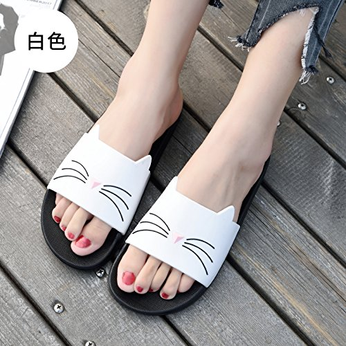 fankou The Bathroom Has a Non-Slip Bath Slippers Summer Home Stay Indoor Slippers Thick Soft Bottom Plastic Cute Cat Cool Slippers Female,37, White