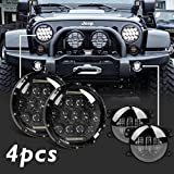 Partsam 2x105W 7''Inch LED Headlight Projector Assembly( DRL HIGH LOW BEAM)+2x4'' Inch 30W Fog Passing Daymaker LED Light Bulb For Jeep Wrangler 1997-2017(Total 4PCS)