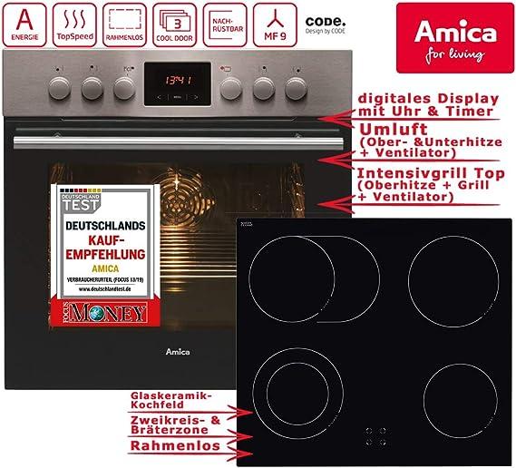 Amica Edelstahl Einbaubackofen Window Timer Grill Soft Close Tür Umluft