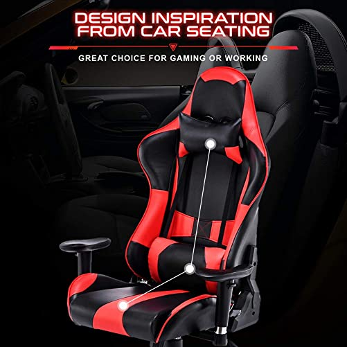 Gaming Chair Adjustable Swivel Office Chair High Back Computer Chair PU Leather Desk Chair Ergonomic Reclining E-Sports Chair with Headrest and Lumbar Support Red