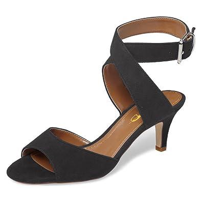 5deea4cd60f8 XYD Women Low Kitten Heel Slingback Sandals Open Toe Buckled Cross Ankle  Strap Summer Shoes Size