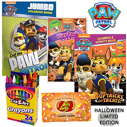 Paw Patrol Halloween Costumes Rubble (Paw Patrol Halloween Costume Activity Book Set by ColorBoxCrate Includes Paw Patrol Halloween Coloring Book, Paw Patrol Play Pack Paw Patrol Stickers, Candy Corn, and More Skye Marshall Chase Rubble)