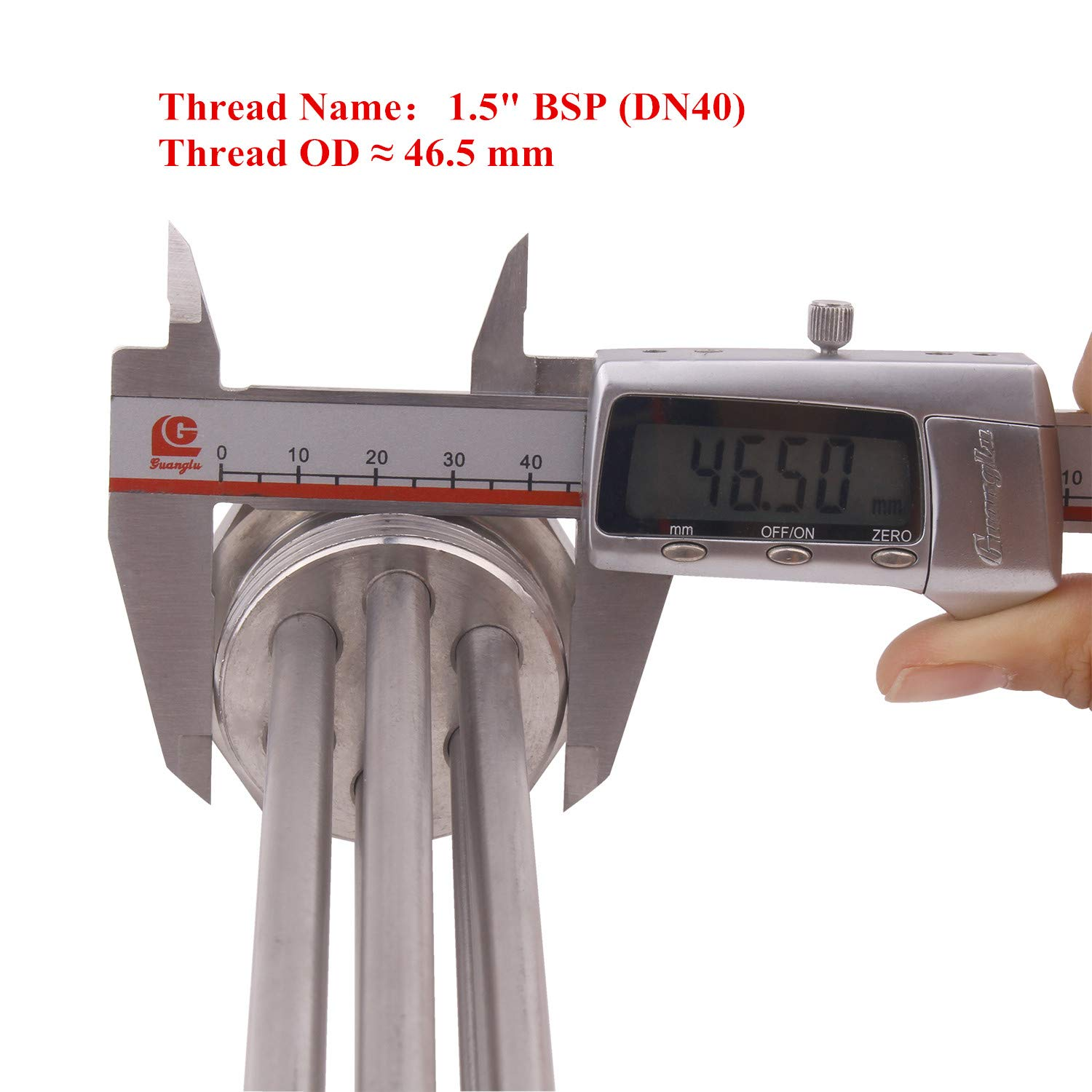 BSP Thread Stainless Steel Packed with Cap and Sealing Ring 3KW 220V Water Heater Element Durable Whole New Immersion Water Heater with 1.5 Inches DN40