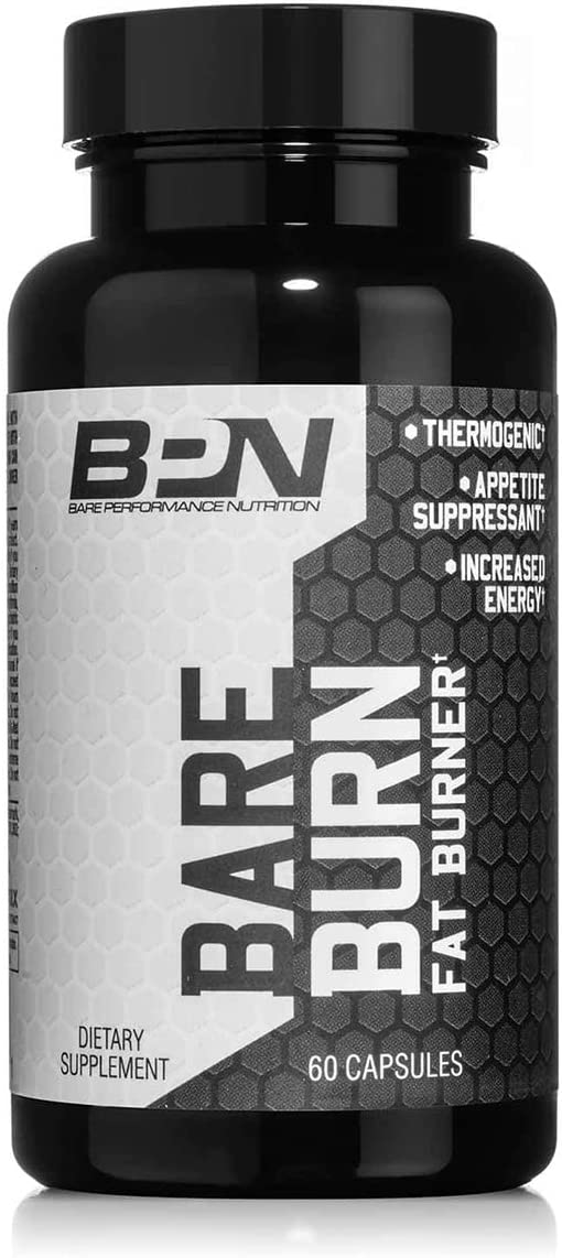 Bare Performance Nutrition, Fat Burner, Fat Burning Complex Thermogenic, Suppress Appetite, Long Lasting Energy Great for Fasting, Trademark Ingredients 60 Capsules