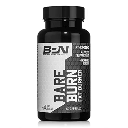 Bare Performance Nutrition Fat Burner Fat Burning Complex Thermogenic Suppress Appetite, Long Lasting Energy Great for Fasting Trademark Ingredients 60 Capsules