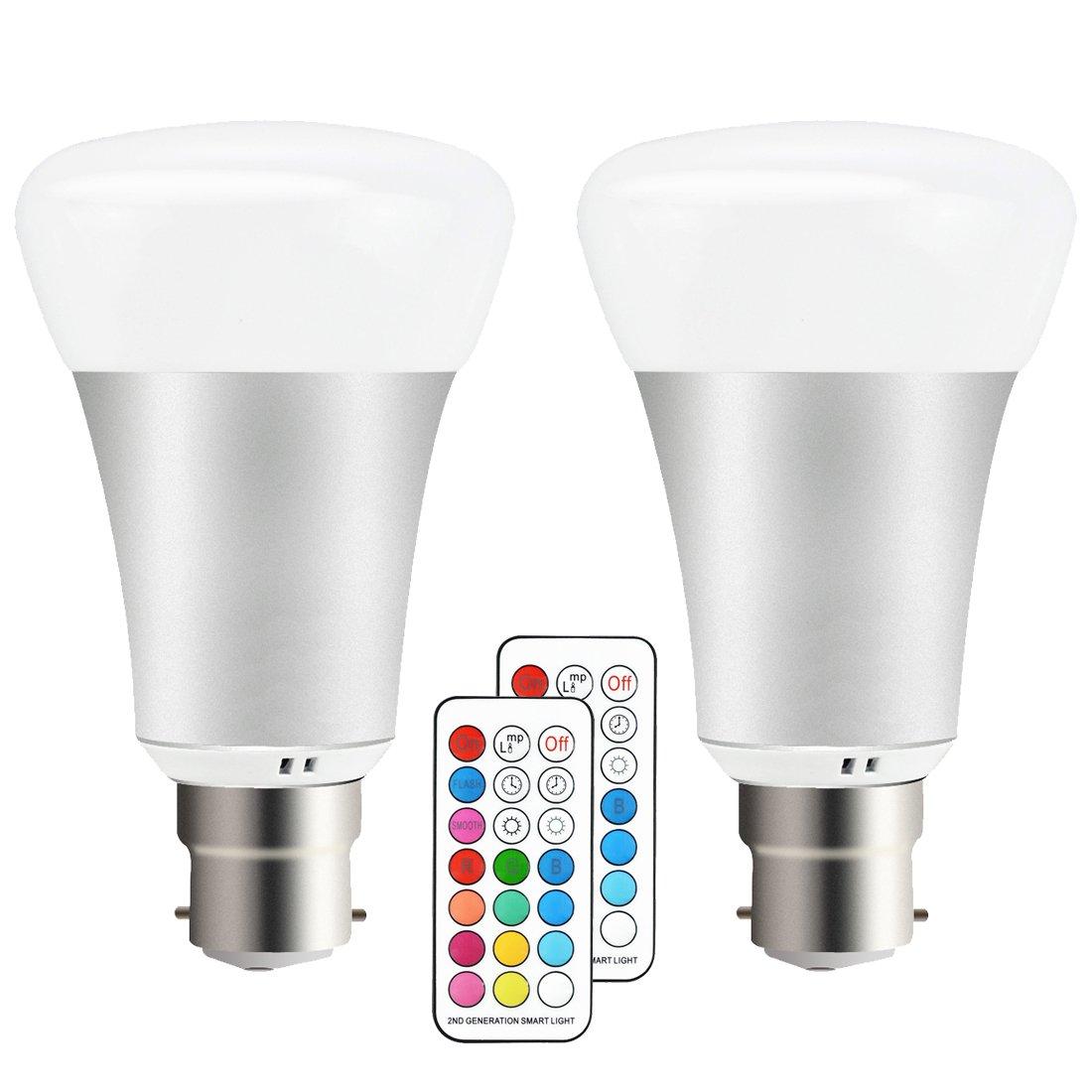 Jayool 10W B22 Timing Dimmable RGBW LED Ampoule Changement de couleur (2017 nouveau-2e génération), Double mémoire et interrupteur mural Commande,60W Equivalent à ampoule incandescente (Lot de 2)