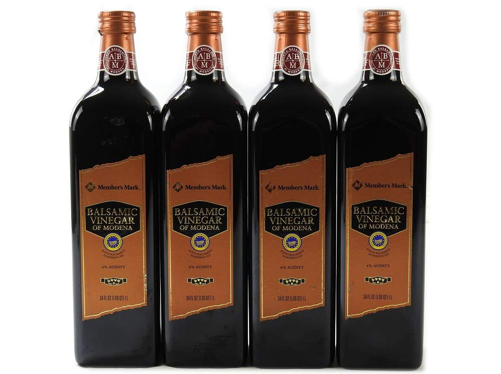 Member's Mark Balsamic Vinegar of Modena Bottle, (34 oz. 1L) - Pack of 4 1 Member's Mark Balsamic Vinegar of Modena Bottle Pack of 4 - Glass Bottles (Expiration 2020) Net Weight Per Bottle: 34 Fluid Ounces